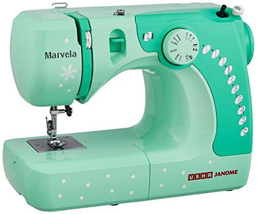 Usha Janome Marvela 60-Watt Sewing Machine (White/Green Decals)