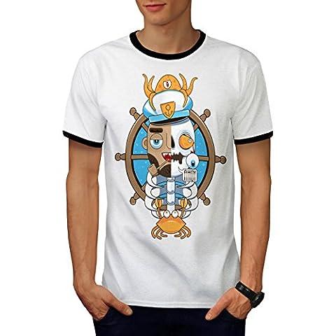 Pirate Dead Skull Funny Men M Ringer T-shirt | Wellcoda