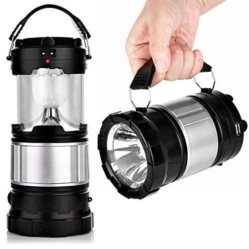 apphome portatile lanterna da campeggio a LED lampada solare luci torcia portatile con batteria ricaricabile per campeggio, escursionismo, pesca, emergenze interruzioni (Nero, pieghevole)