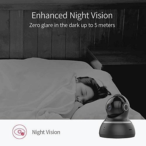 YI Telecamera di Sorveglianza 1080p IP Camera Videocamera WiFi 360° con Sensore Movimento Visione Notturna per iOS/Android (Nera) - 4
