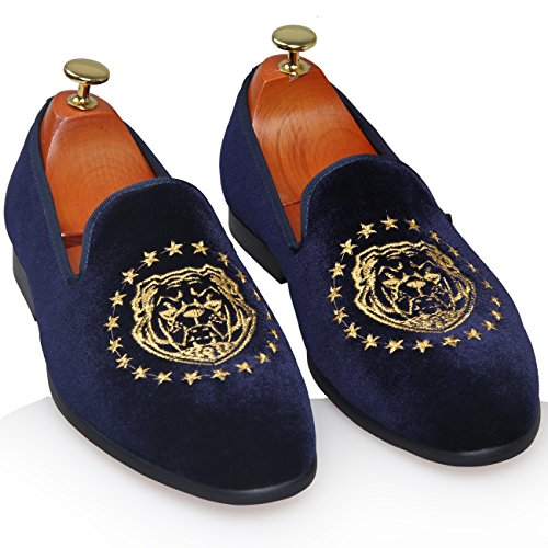 ELANROMAN Herren Stickerei Vintage Samt Slip-On Casual Driving Sliper Loafer Schuhe Navy Blau