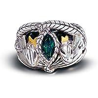 Anello di Aragorn in argento, placcato in oro con cristalli. Con certificato di autenticità. Tratto da Il Signore degli Anelli.