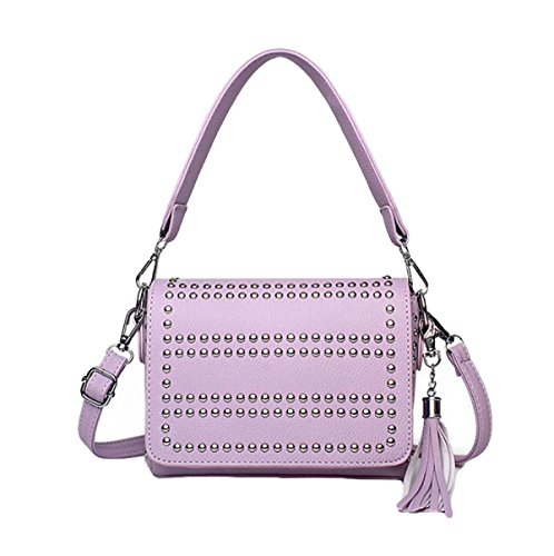 Damen-Beutel-Farben-Nieten Kleiner Quadratischer PU-Beutel Bedeckt Kurierbeutel-Schulterbeutel Einfache Art Und Weise Purple