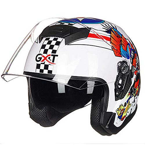 WLJBY Harley Persönlichkeit Helm Moto Scooter Racing Helme Double Lens Männer und Frauen Elektro-Motorrad Halber Helm Vier Jahreszeiten Universal,E,L (Kleine Mädchen, Die Elektro-roller)
