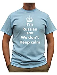 Nutees I'm Russian And We Don't Keep Calm Funny Mens T Shirt - Light Blue