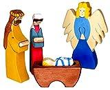 Holztiger Krippenfiguren Set - Holztiger Jesus 2, Josef 2, Maria 2 und Erzengel 4