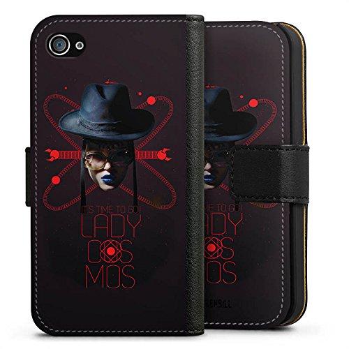 Apple iPhone X Silikon Hülle Case Schutzhülle Frau Hut Lippenstift Sideflip Tasche schwarz