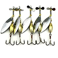HENGJIA Lot 5 Sinking Spinner Spoon Bait Fishing Lure Artificial Hard Bait for Trout Bass Pike Fishing Tackle Equipment 16.3g/10cm