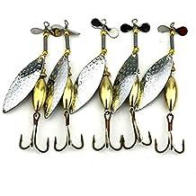HENGJIA Lot 5Hundimiento Spinner Cuchara señuelo de pesca cebo artificial duro cebo para Trucha Bass Pike de aparejos de pesca equipo 16,3g/10cm