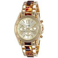 Burgi Women's Swiss Quartz Watch with Gold Dial Analogue Display and Gold Alloy Bracelet BUR094YG