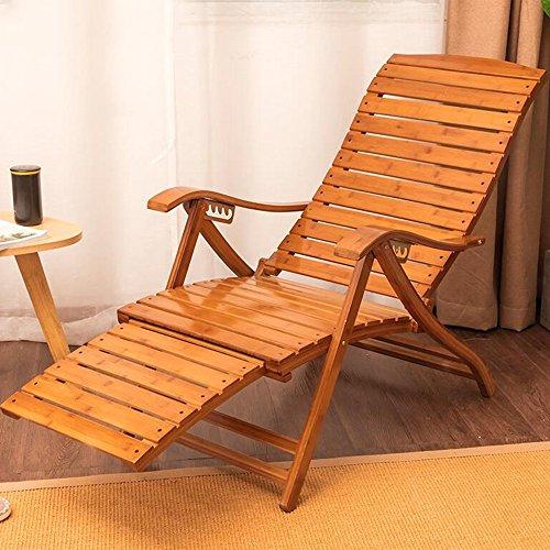 Deckchairs HAIZHEN Gravity Lounge Sessel Bambus Schaukelstuhl Verstellbarer Liegesessel Pool Patio Outdoor Lounge Stühle w/Kissen 6 Level Einstellbar für Den Außenhof (Liegesessel Pool /)