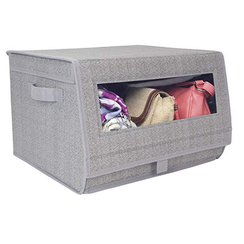 HomeStorie® Non-Woven Fabric Storage Organizer Box with Lid & View Window, Grey, 25 x 38 x 35 cm
