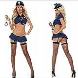 FENGHAO Frauen-blaue Polizei-Halloween-Wäsche-Abendkleid-Polizist-Offizier-Uniform-Frauen Kostüm-Ausstattung