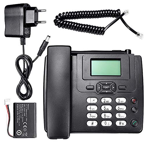 G-wukeer Teléfono de Escritorio inalámbrico - Teléfono inalámbrico Teléfono de Escritorio gsm Tarjeta SIM Teléfono móvil, teléfono Fijo, para Oficina en casa