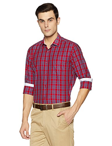 Diverse Men's Checkered Regular Fit Cotton Formal Shirt (DVF07F1L01-209-48_Red)