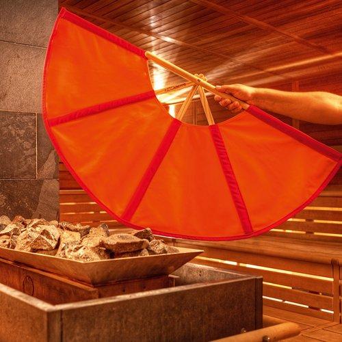 rot/orange Aufgussfächer, 105 cm Spannweite, Fächer Aufguss - Spannweite