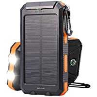 Soluser 10000mAh Portable Solar Charger External Backup Battery Pack Charger, IP67 Water-Resistant 2 USB Ports Solar Power Bank Phone Charger with 2LED Flashlight, Carabineer and Compass