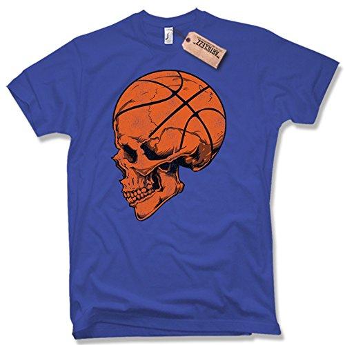 BASKETBALL SKULL T-Shirt, Funshirt, Trikot, verschiedene Farben, Gr. S - XXL blau / royal blue