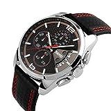 Mode Sport Herrenuhren - Luxus Leder Armband Sub-Dials Chronograph Stoppuhr Kalender Datum 30M Wasserdicht Quarzuhr Armbanduhren für Männer, Rot