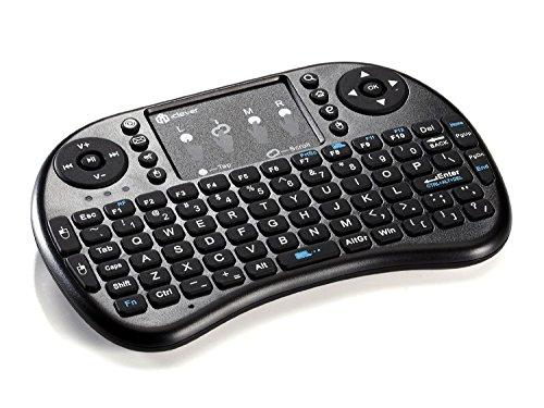 iClever Mini Tastiera Wireless, 2.4GHz Tastiera con Mouse Touchpad(layout ITALIANO, Batteria Ricaricabile) per PC, Pad, Xbox 360, PS3, Google Android TV Box, HTPC/IPTV-Nero