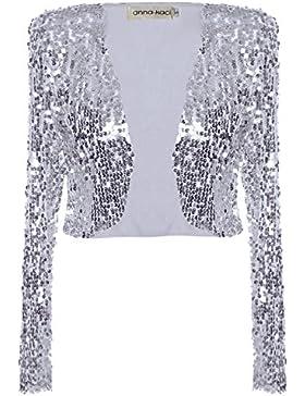 Anna-Kaci la lentejuela metálico Disco Retro recortada largo de la manga de la chaqueta del bolero