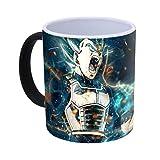 Tasses magiques Dragon Ball Z couleur changeante Vegeta Super Saiyan tasse de café chaleur Tasse réactive et un ensemble de plateau DBZ