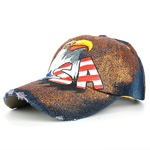 Unisex Classic Vintage USA American Eagle Printing Washed Denim Baseball Cap Adjustable Low Profile Dad Hat