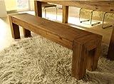Sitzbank Florenz MASSIV 174 cm Bank Akazie Massivholz gebürstet Holzbank