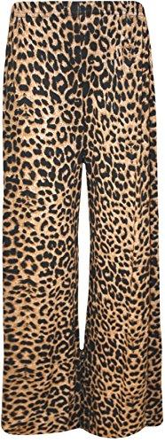 WearAll - Übergröße Damen Blumen Druck Weite Bein Palazzo Hosen - Braun Leopard - 44-46 (Leopard Bein)