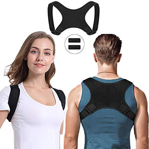 Toyaword Haltungstrainer, Geradehalter zur Haltungskorrektur Rücken Schulter Schultergurt, Damen Herren Einstellbar Rückentrainer Rückenstütze gegen Nacken Schulterschmerzen (mit 2 Schulterpolster)