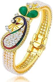 Sukkhi Ethnic Pearl Gold Plated Wedding Jewellery Peacock Meenakari Kada For Women (12120KADS650)