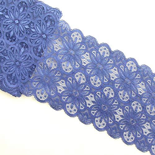 Yalulu 5 Yards Elastische Stretch Spitze Trim Blume Borte Spitzenband Trim DIY Kunsthandwerk Unterwäsche Spitzenborte Nähen (Tiefes Blau) -