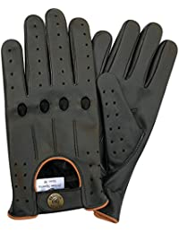 Men's Genuine Leather Driving Classic String Black Gloves with 4 holes 507 with Yellow & Brown Piping