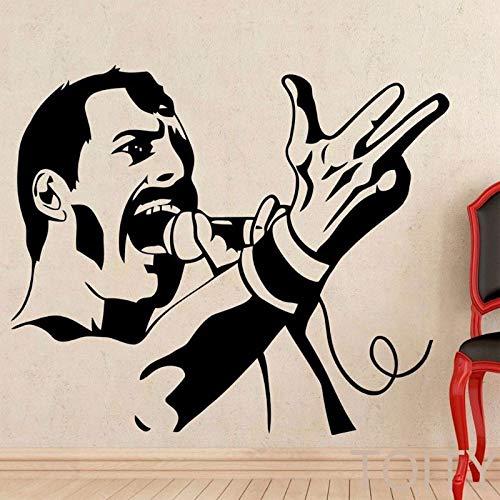 jiuyaomai Rockstar Freddie Mercury Wandapplikation Rock Vocal Wandaufkleber Promi Bild Wandaufkleber Musikfans Wandaufkleber 67x57cm