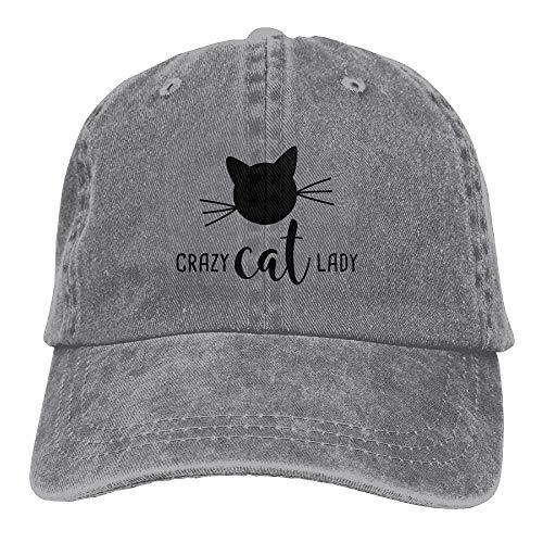 Fun Life Art Verrückte Katze Lady Plain verstellbare Cowboy Cap Denim Hut für Frauen und Männer -