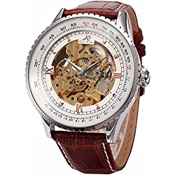 KS Carving Golden Skeleton Auto Mechanical Brown Leather Elegant Mens Wrist Watch KS111