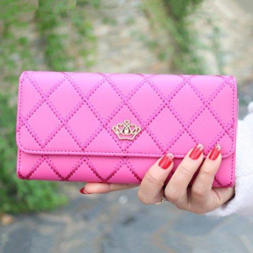 Ouneed® Damen groß Kapazität elegante Krone Luxus Wachs Leder Geldbörsen mit Reißverschluss-Tasche (Hot Pink ) Hot Pink Leder
