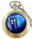 taport® Dr Who bronce antiguo grabado cuarzo reloj de bolsillo + libre batería de repuesto + libre bolsa de regalo