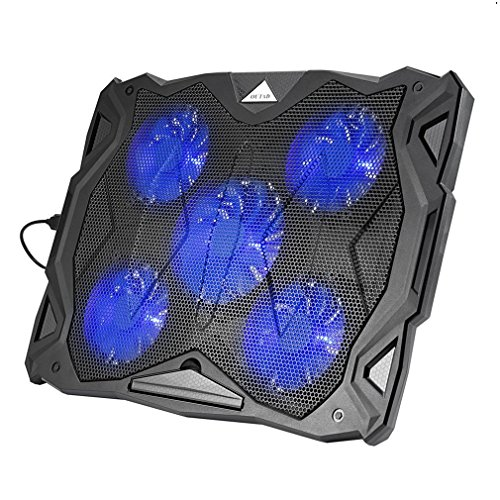 gomyhom Kissen-Kühlung Notebook Kühler für Notebook 12 - 17 Zoll LED-Licht USB Powered 5 Fan Chill Mat-Kühler Computer (5 Lüfter, 2 x USB, 1100 - 1500rpm) schwarz -