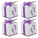 Gosear Papier Boîte 50 Pcs Boîte à Dragées Bonbonières avec Ruban pour Décoration de Mariage Fêtes Baptême Naissance Lilas