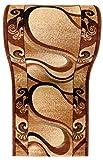 WE LOVE RUGS CARPETO Läufer Teppich Flur - Abstraktes Muster - Dicht Gewebt Teppichläufer - Läufer nach Maß - KIRTAN Kollektion - Braun Beige - 100 x 275 cm