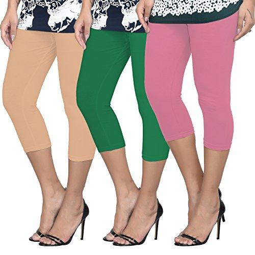 Livener Women's Cotton Lycra Capris of Beige, Green & BabyPink Colors