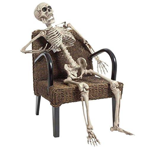 Bewegliches Deko Skelett Modellskelett weiß 160 cm Halloweendeko Gerippe Figur Halloween Deko (Figuren Deko Halloween)