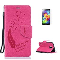 Samsung Galaxy S5 i9600 Case [with Free Screen Protector],CaseHome Elegant [Birds Feather] Pattern Design Premium Embossed PU Leather Flip Wallet Case with Card Holder Slots and Wrist Strap Book Style Folio Magnetic Closure Stand Feature Inner Silicone Rubber Bumper Shockproof Full Body Protective C