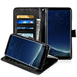 Galaxy S8 Leather Case, Orlegol Flip Leather Wallet Phone Case Premium Wallet Case with Stand Flip Cover Magnetic Button Bumper Case for Samsung Galaxy S8