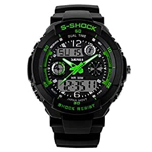 Skmei S Shock Analog and Digital Sports Watch Green Color