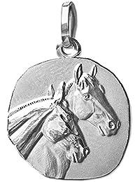 CLEVER SCHMUCK Colgante plateado en forma de medalla con 2cabezas de caballo, plata 925, baño derodio