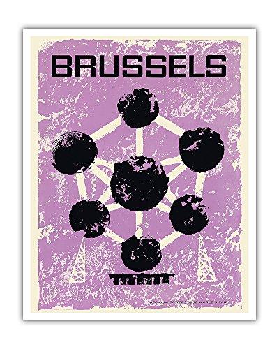 Brüssel, Belgien - Weltausstellung 1958 - Atomium - Vintage Retro Welt Reise Plakat Poster c.1960 - Kunstdruck - 41cm x 51cm