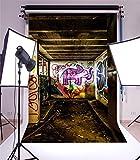 YongFoto 1,5x2,2m Vinyl Foto Hintergrund Graffiti Handgemalt Elefant bunte künstlerische Tapete Düsteres Holzdach Grunge Boden ruiniert Alte Fabrik Fotografie Hintergrund für Fotoshooting Portraitfotos Party Kinder Hochzeit Fotostudio Requisiten