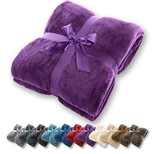 Gräfenstayn® coperta morbida - tante dimensioni e colori diversi - coperta in microfibra da soggiorno copriletto copri divano - vello in microfibra di flanella (viola, 200x150 cm)